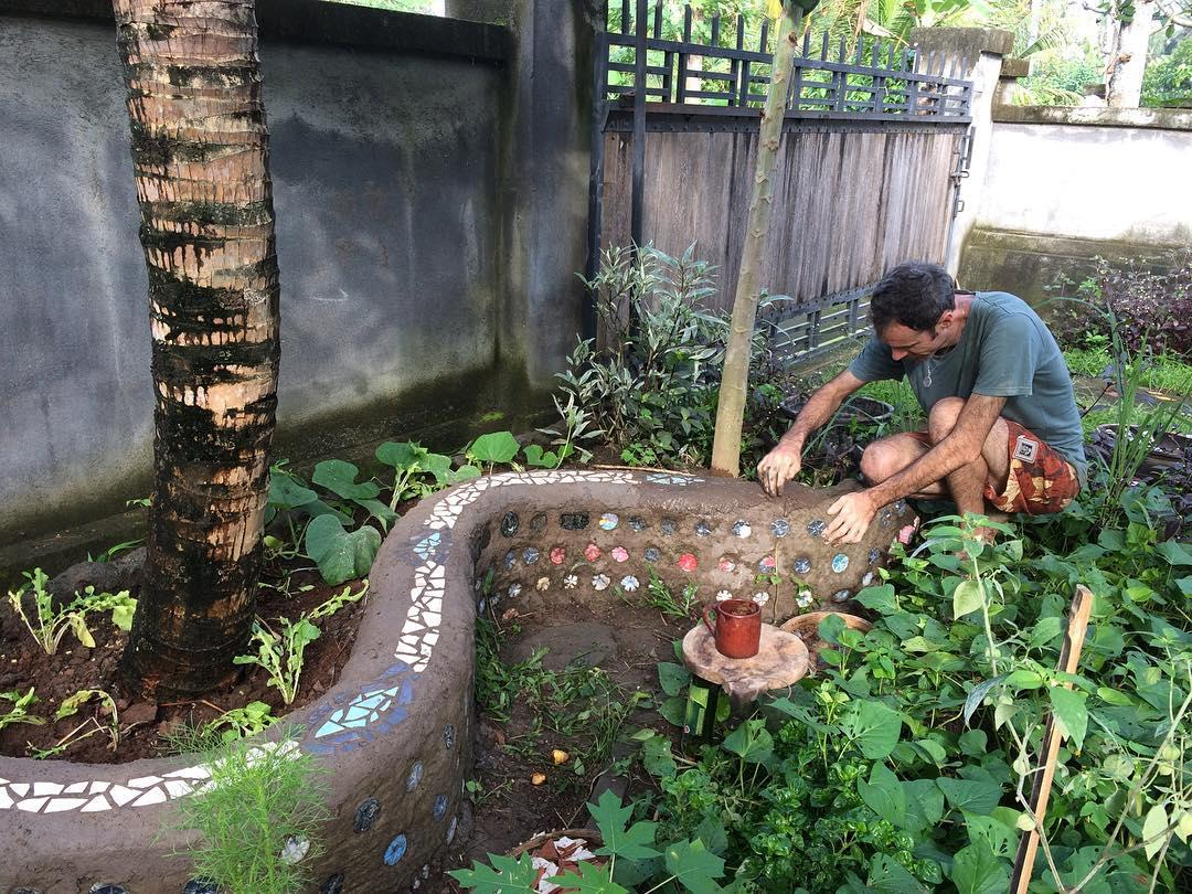 garden bench made from ecobricks