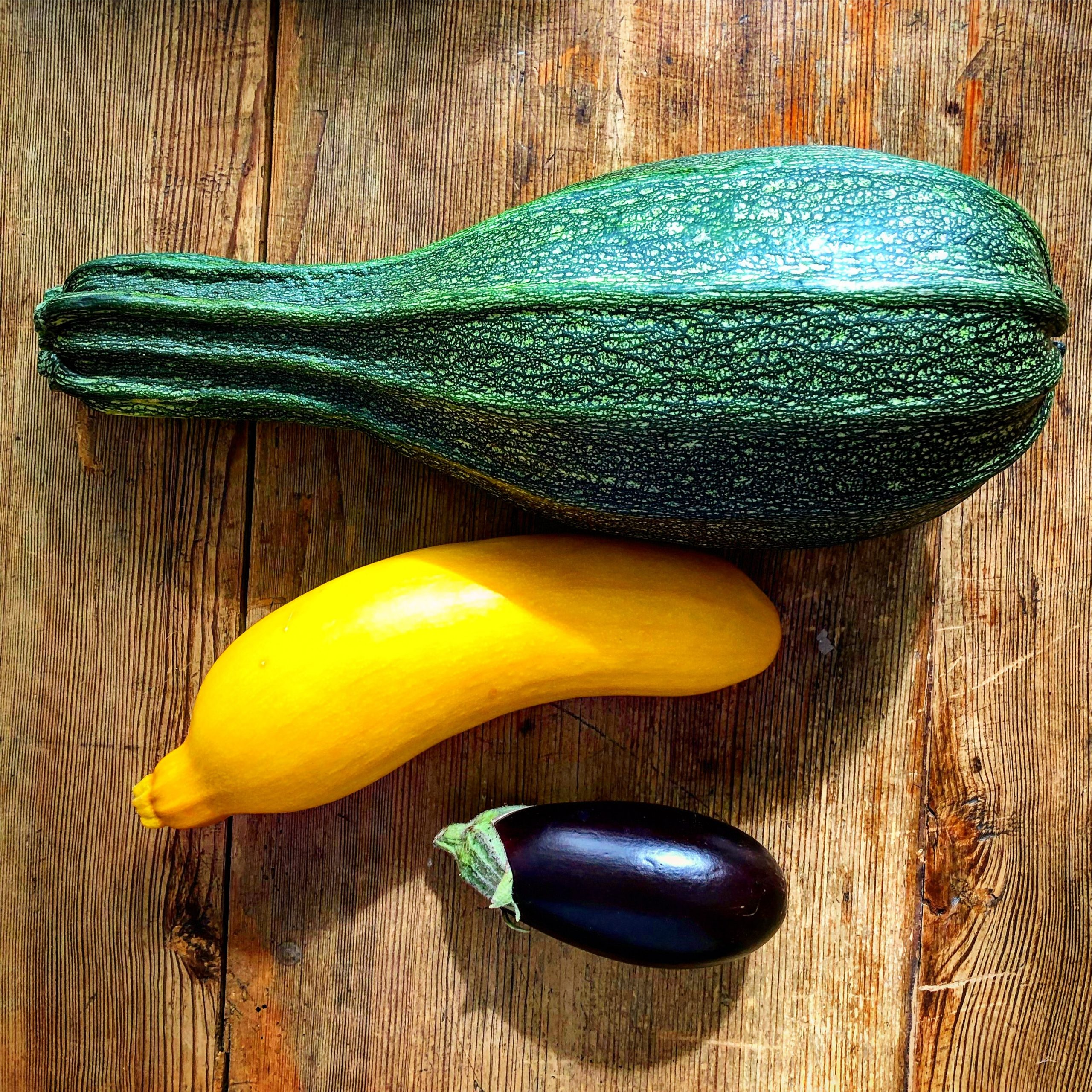 A large green marrow, a yellow courgette and an aubergine on a wooden table