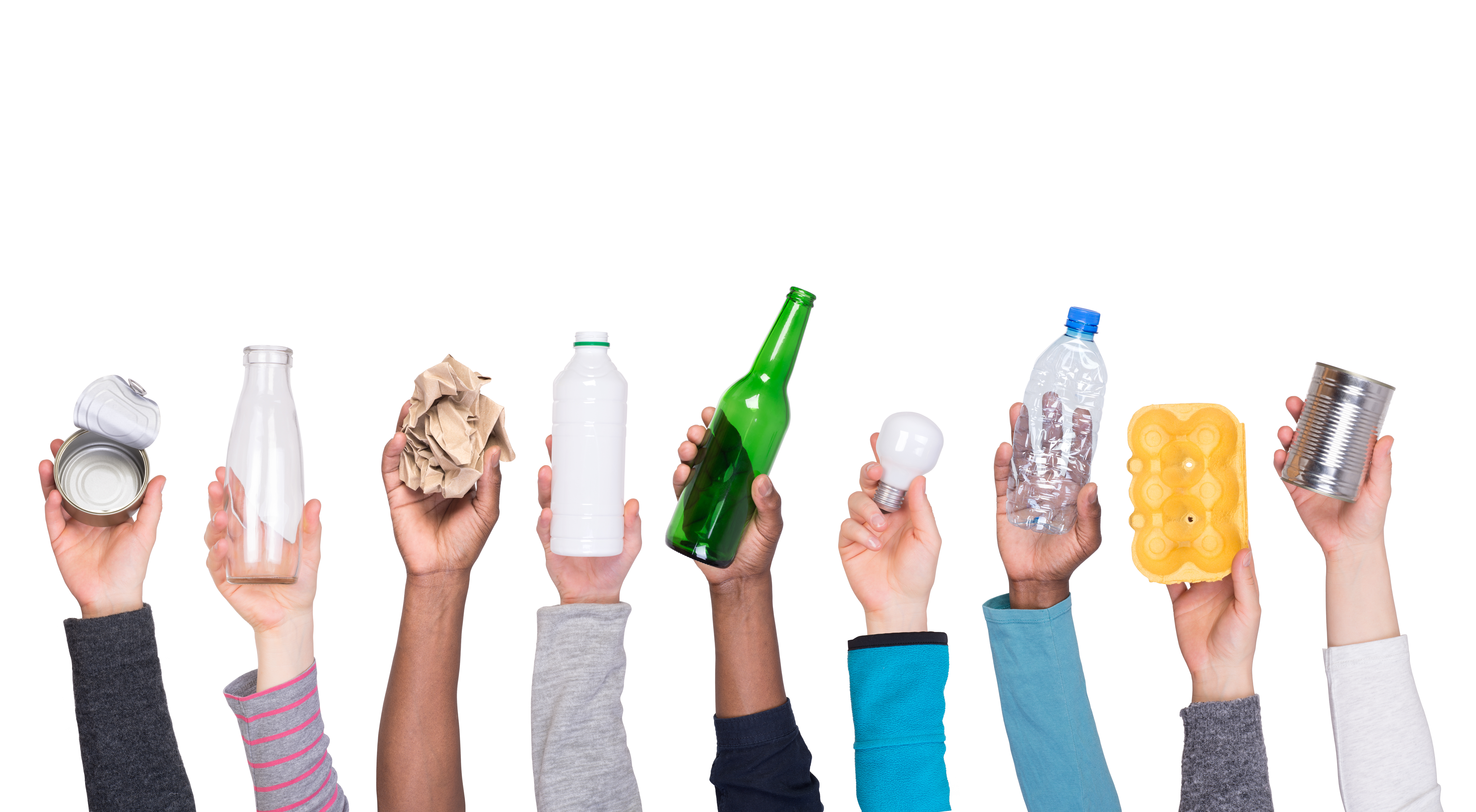 how to recycle like a pro - hands holding up various recyclable items
