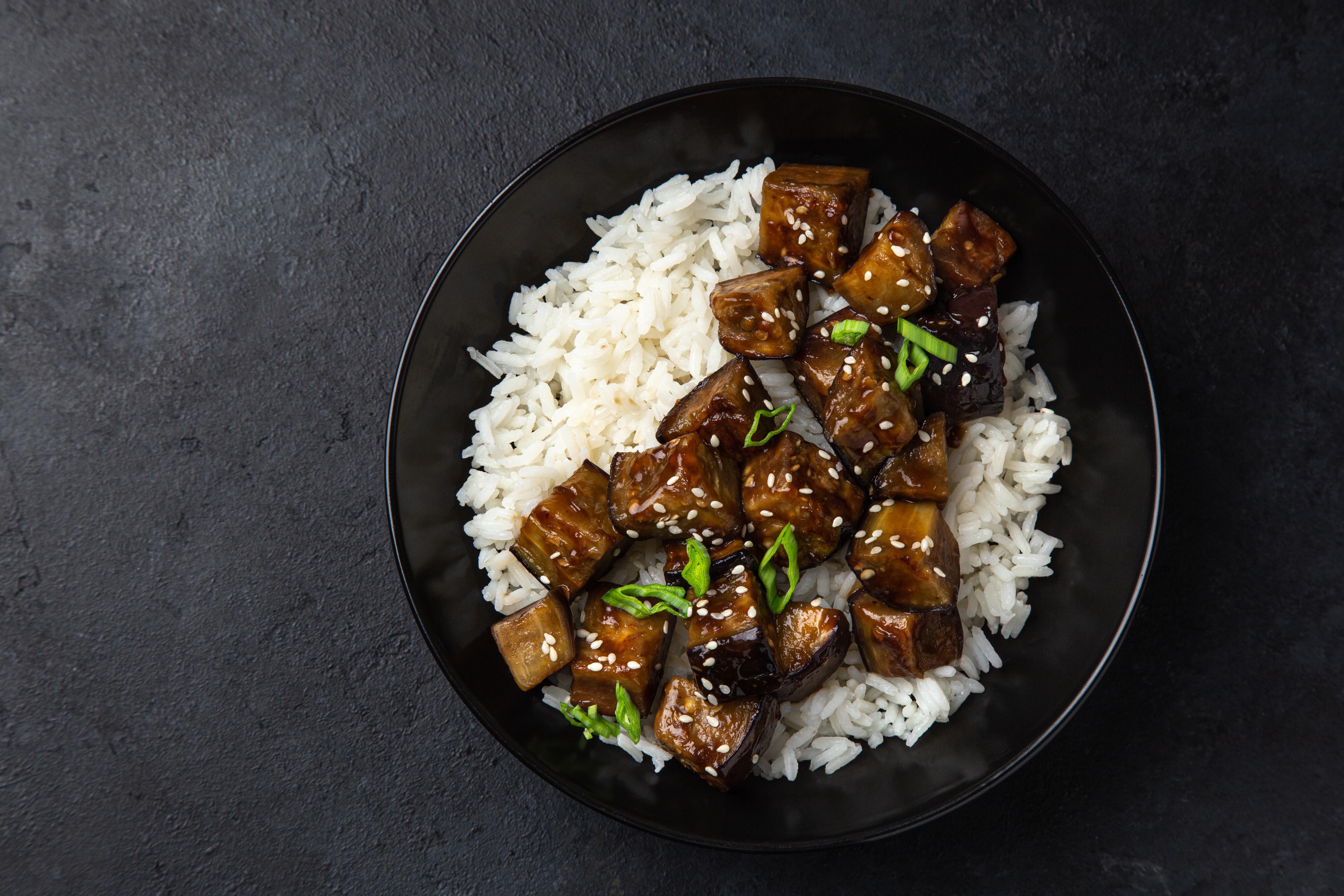 aubergine teriyaki bowl with rice
