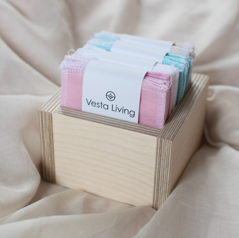 Vesta Living reusable cotton face wipes in a wooden box