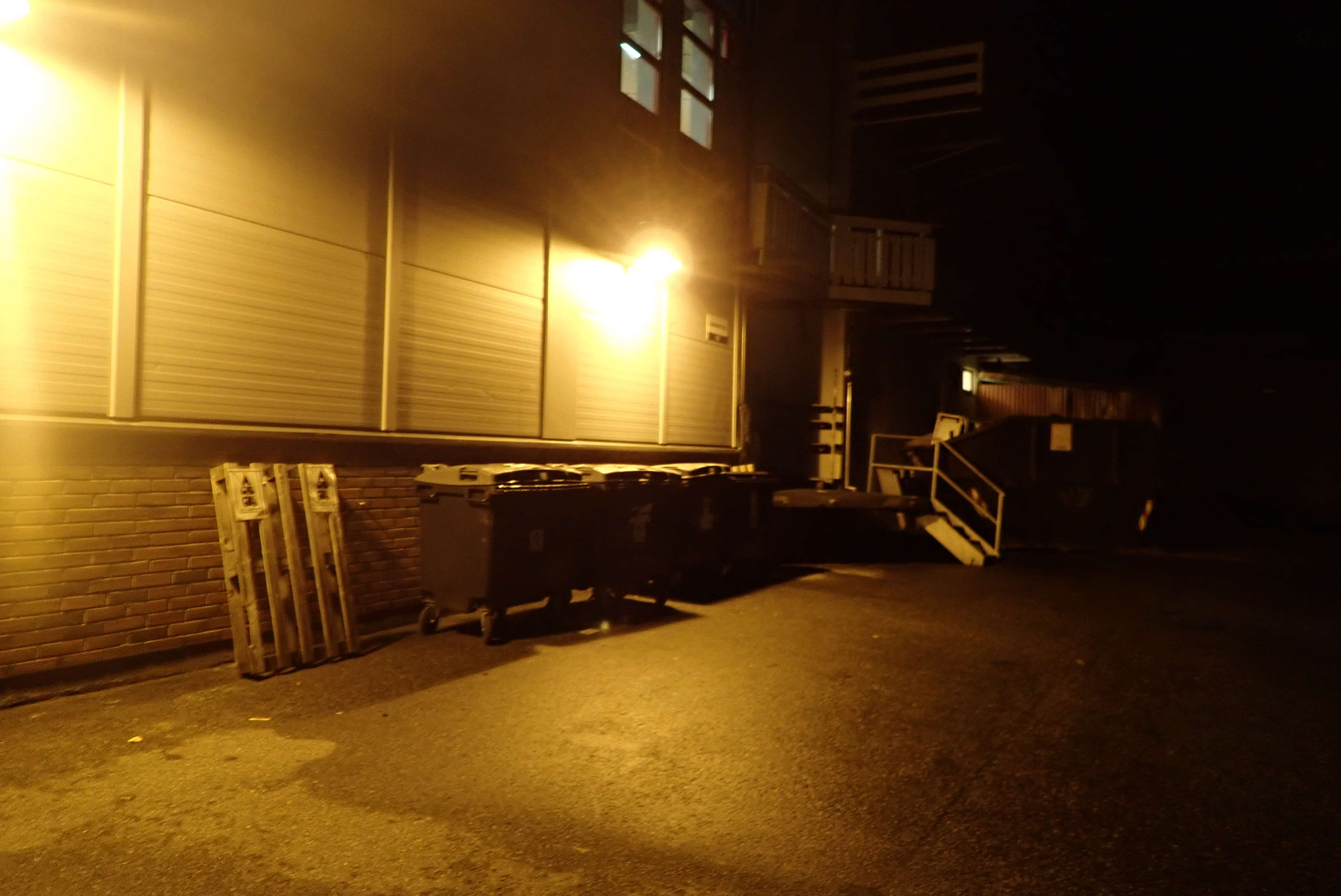 dumpsters at the back of a shop in the dark