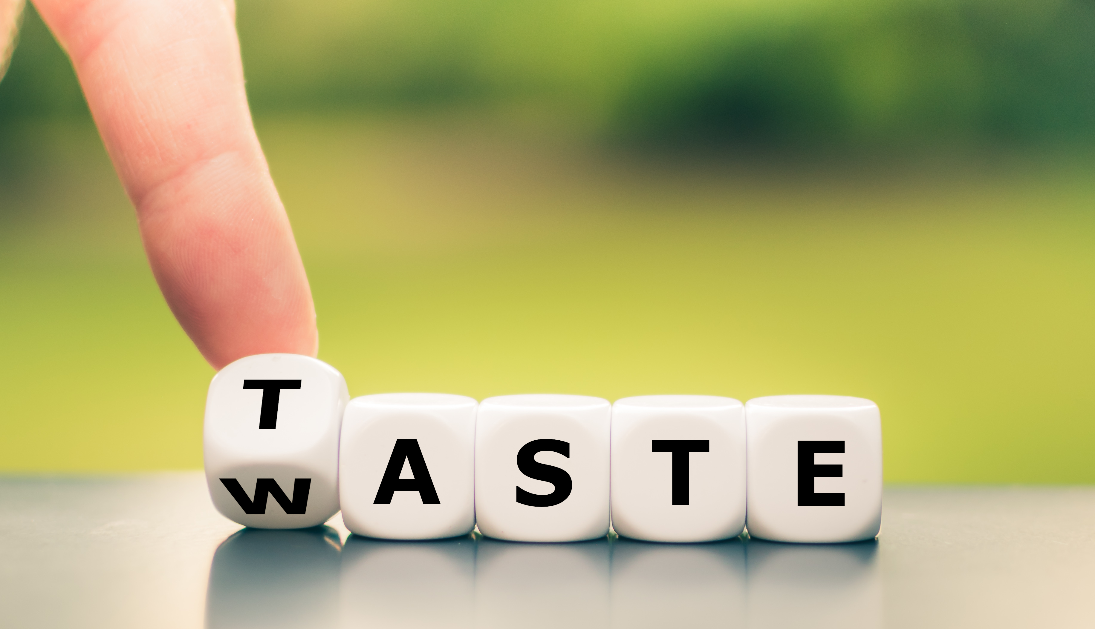 """dumpster diving - someone flicking over a dice to make """"waste"""" say """"taste"""""""