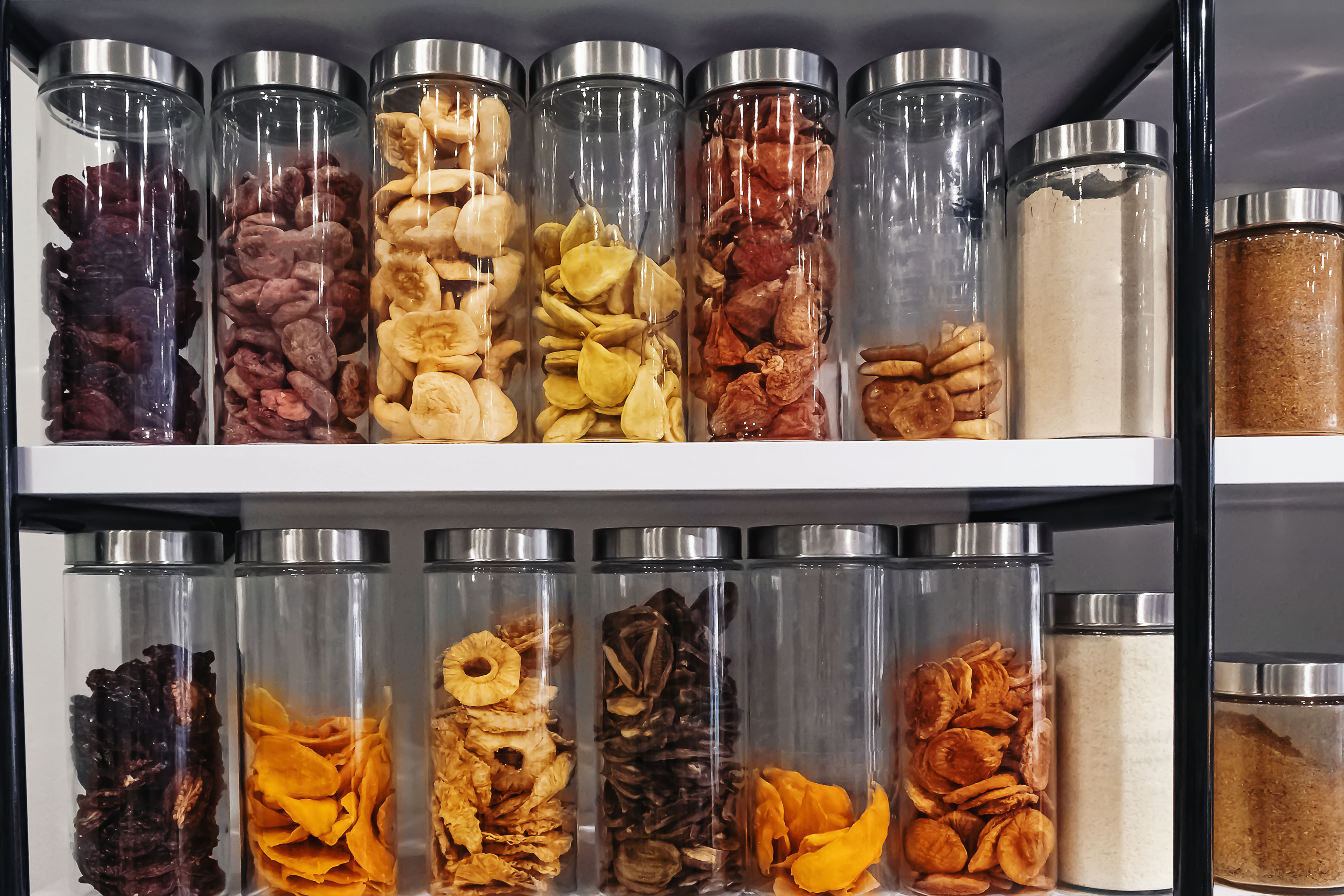 mason jars filled with dried produce
