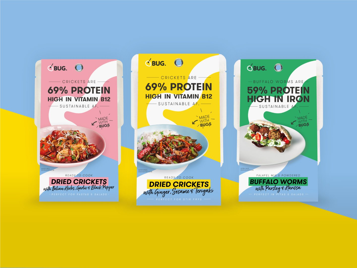 Three BUG edible insects meals kits in a row: crickets with italian herbs, crickets with ginger, sesame and teriyaki and buffalo worms with parsley and harissa