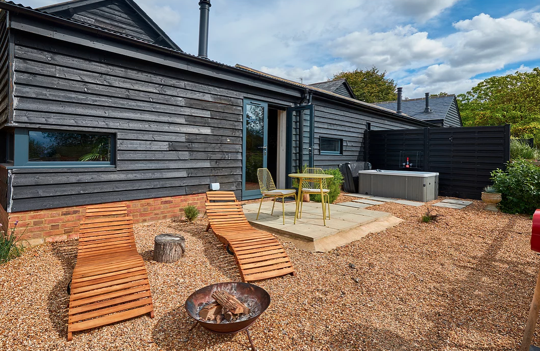 The wooden-clad outside of an eco-friendly Airbnb in the UK